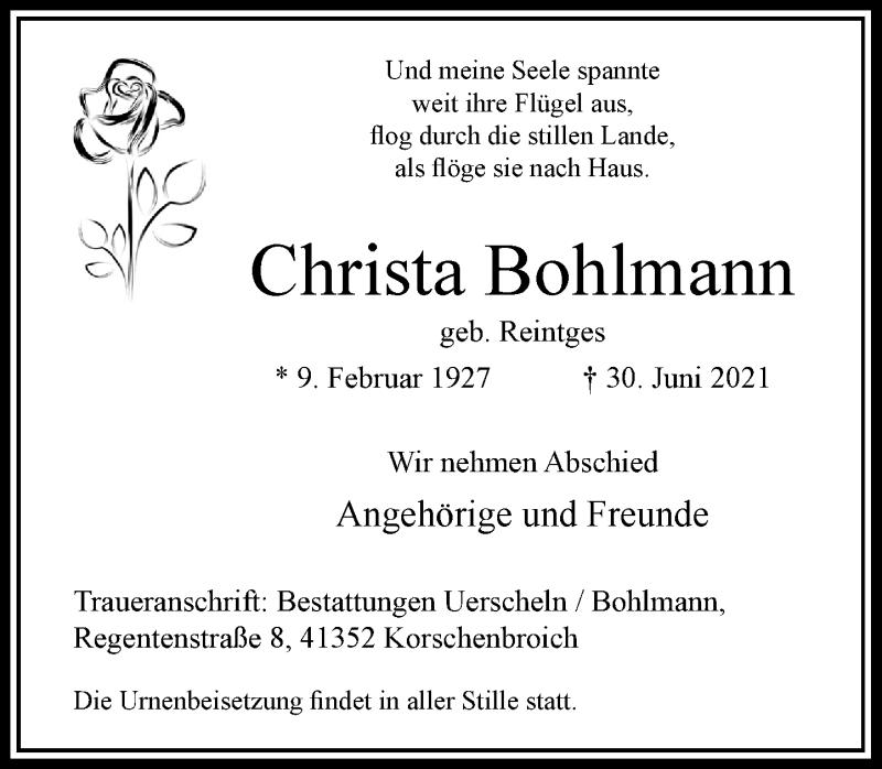 Traueranzeige für Christa Bohlmann vom 24.07.2021 aus Rheinische Post