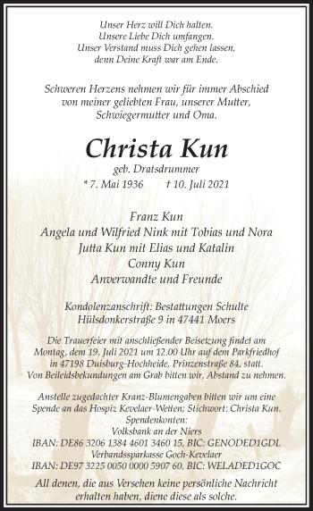 Traueranzeige von Christa Kun von Rheinische Post