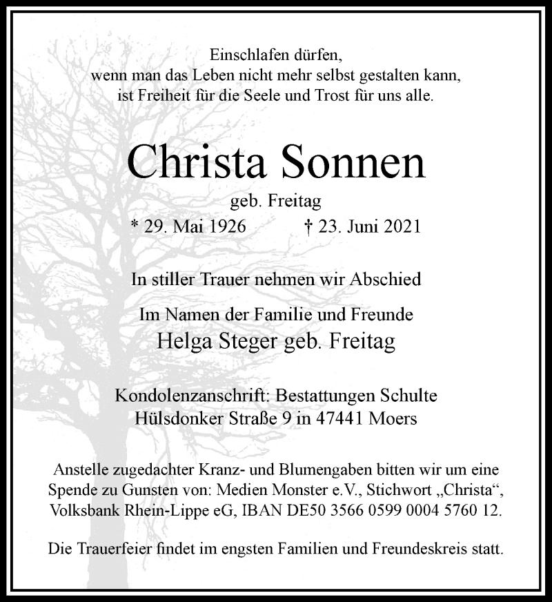 Traueranzeige für Christa Sonnen vom 03.07.2021 aus Rheinische Post