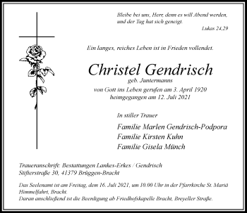 Traueranzeige von Christel Gendrisch von Rheinische Post
