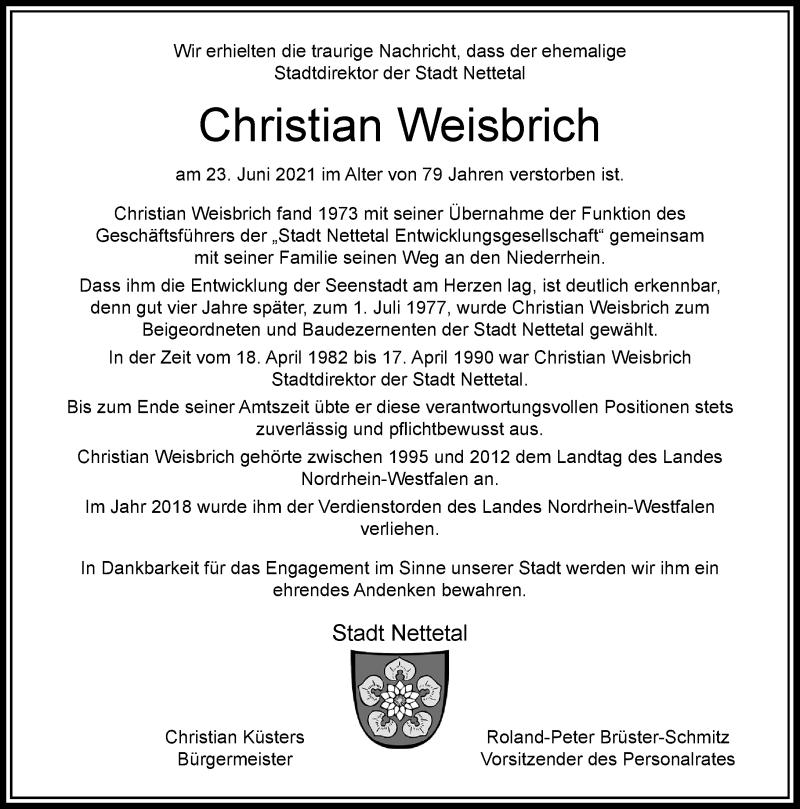 Traueranzeige für Christian Weisbrich vom 03.07.2021 aus Rheinische Post