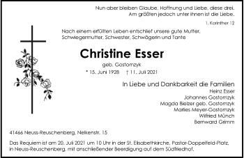 Traueranzeige von Christine Esser von Rheinische Post