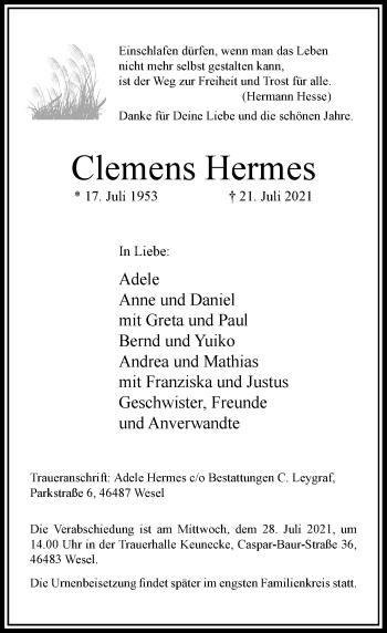Traueranzeige von Clemens Hermes von Rheinische Post