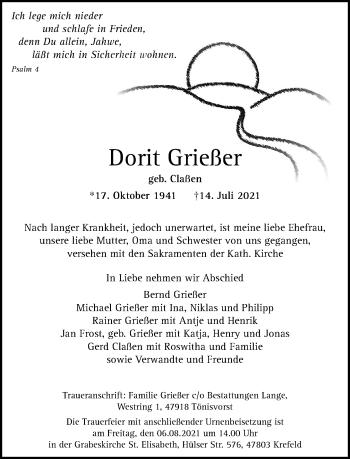 Traueranzeige von Dorfft Grießer von Rheinische Post