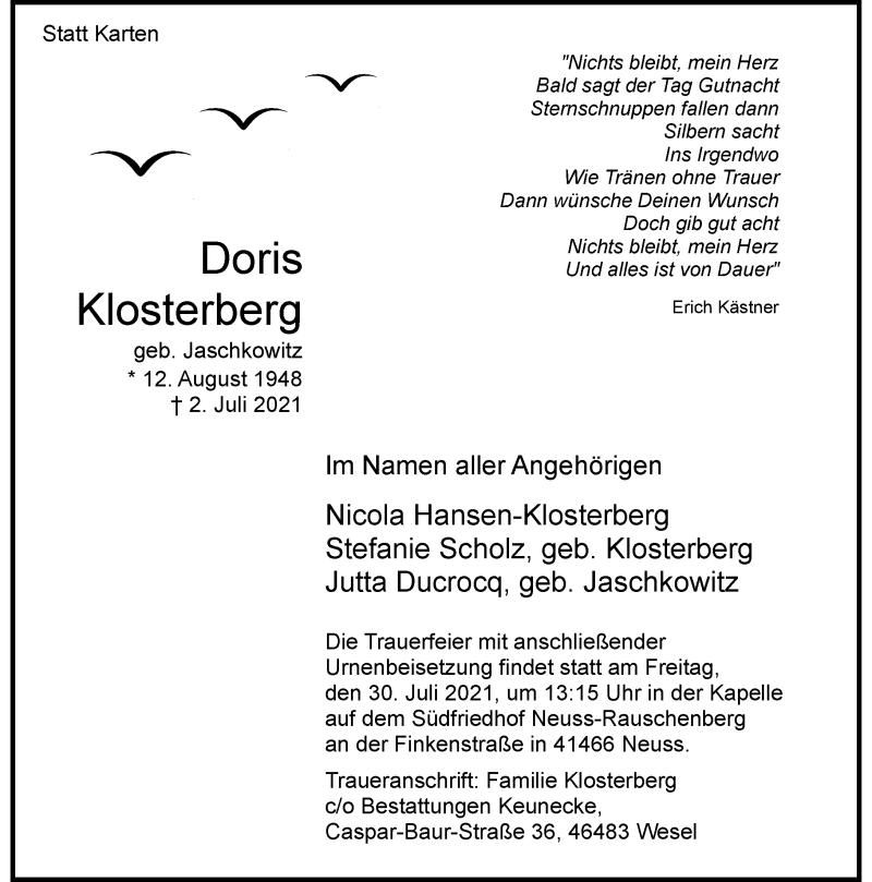 Traueranzeige für Doris Klosterberg vom 24.07.2021 aus Rheinische Post