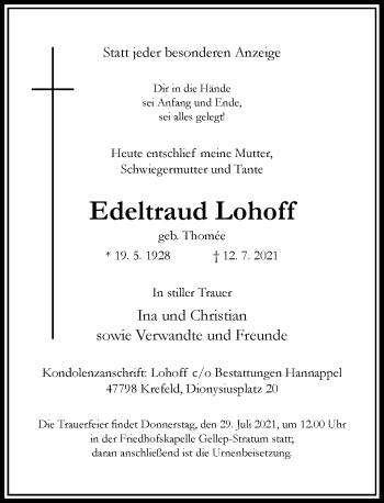 Traueranzeige von Edeltraud Lohoff von Rheinische Post
