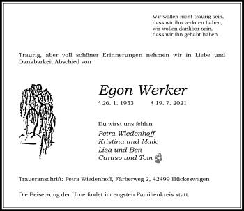 Traueranzeige von Egon Werker von Rheinische Post