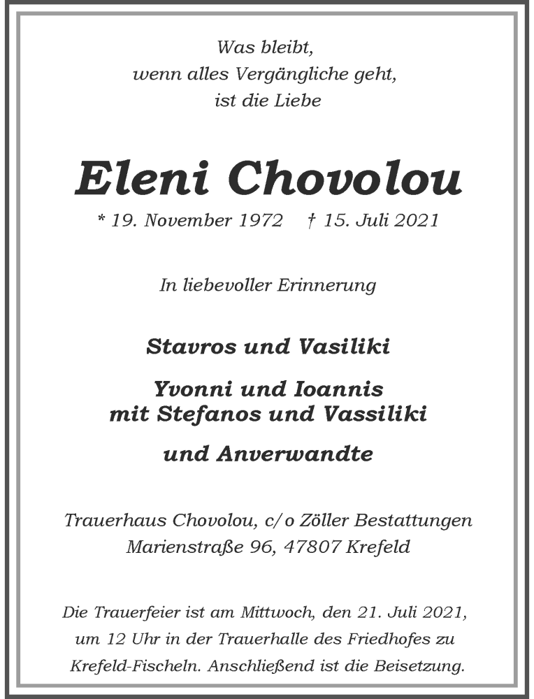 Traueranzeige für Eleni Chovolou vom 17.07.2021 aus Rheinische Post