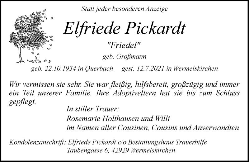Traueranzeige für Elfriede Pickardt vom 21.07.2021 aus Rheinische Post