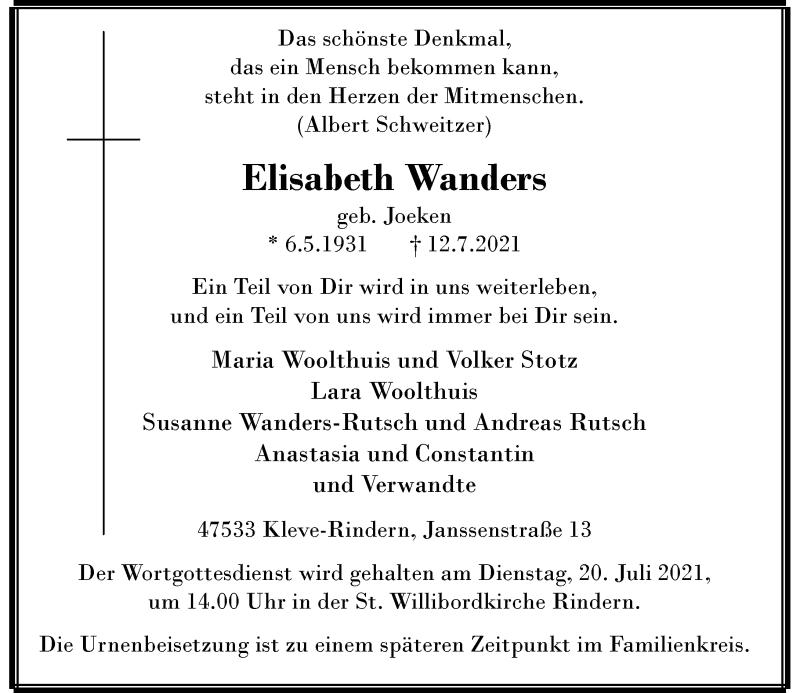 Traueranzeige für Elisabeth Wanders vom 17.07.2021 aus Rheinische Post