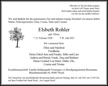 Traueranzeige von Elsbeth Rohler von Rheinische Post