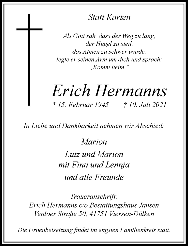 Traueranzeige für Erich Hermanns vom 17.07.2021 aus Rheinische Post