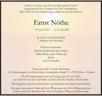 Traueranzeige von Ernst Nöthe von Rheinische Post