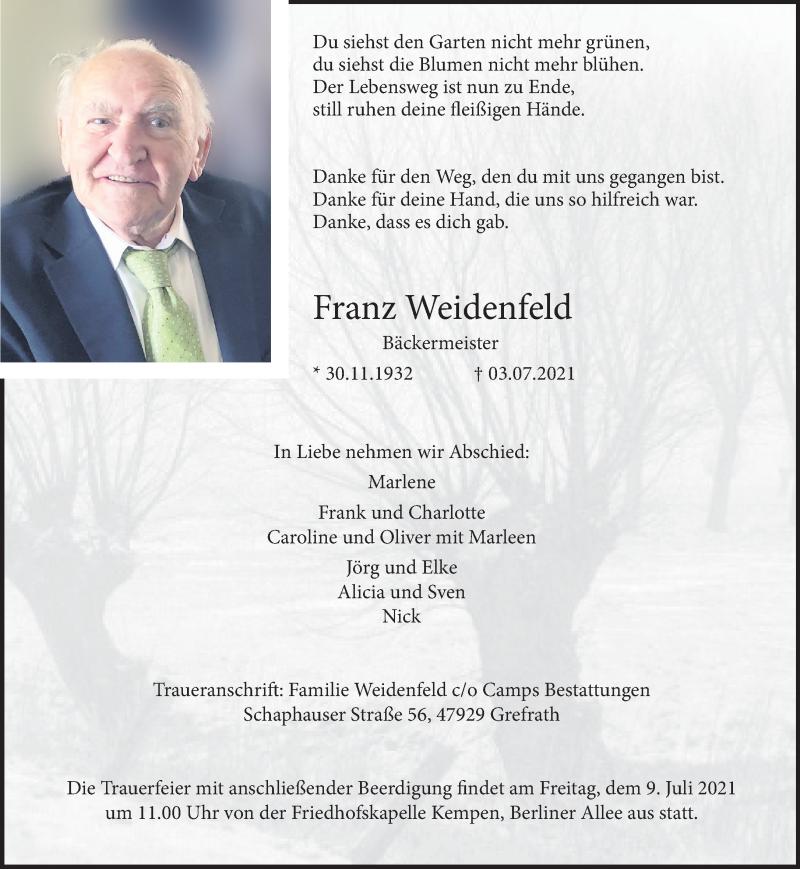 Traueranzeige für Franz Weidenfeld vom 07.07.2021 aus Rheinische Post