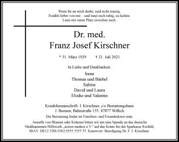 Traueranzeige von Franz Josef Kirschner von Rheinische Post