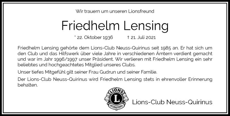 Traueranzeige für Friedhelm Lensing vom 31.07.2021 aus Rheinische Post