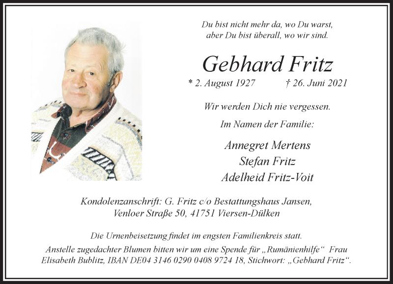 Traueranzeige für Gebhard Fritz vom 03.07.2021 aus Rheinische Post