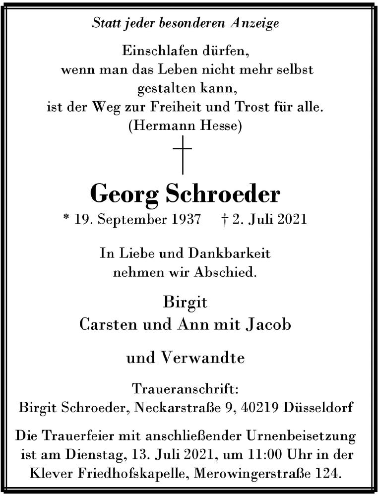 Traueranzeige für Georg Schroeder vom 10.07.2021 aus Rheinische Post