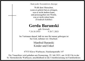 Traueranzeige von Gerda Baranski von Rheinische Post