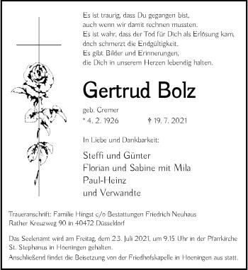 Traueranzeige von Gertrud Bolz von Rheinische Post