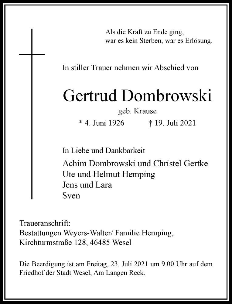 Traueranzeige für Gertrud Dombrowski vom 21.07.2021 aus Rheinische Post