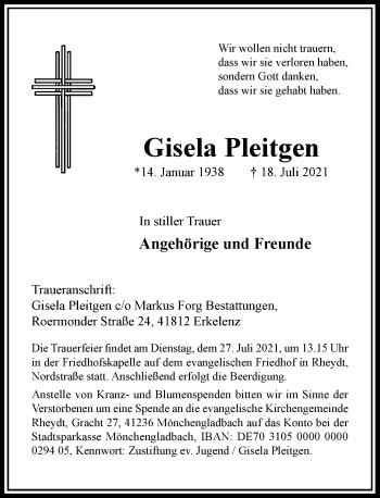 Traueranzeige von Gisela Pleitgen von Rheinische Post