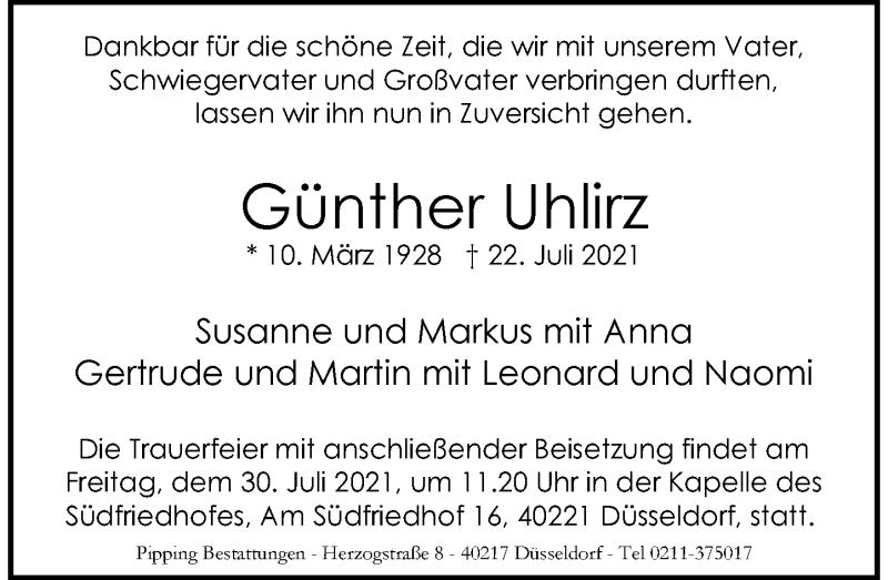 Traueranzeige für Günther Uhlirz vom 28.07.2021 aus Rheinische Post