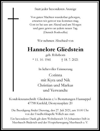 Traueranzeige von Hannelore Gliedstein von Rheinische Post