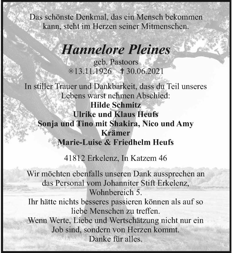 Traueranzeige für Hannelore Pleines vom 10.07.2021 aus Rheinische Post