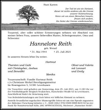 Traueranzeige von Hannelore Reith von Rheinische Post