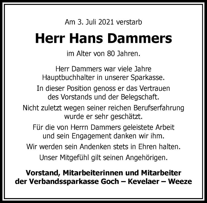 Traueranzeige für Hans Dammers vom 10.07.2021 aus Rheinische Post