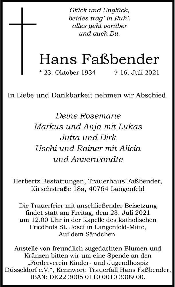 Traueranzeige für Hans Faßbender vom 20.07.2021 aus Rheinische Post