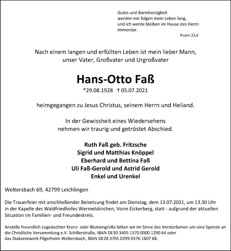 Traueranzeige für Hans-Otto Faß vom 10.07.2021 aus Rheinische Post