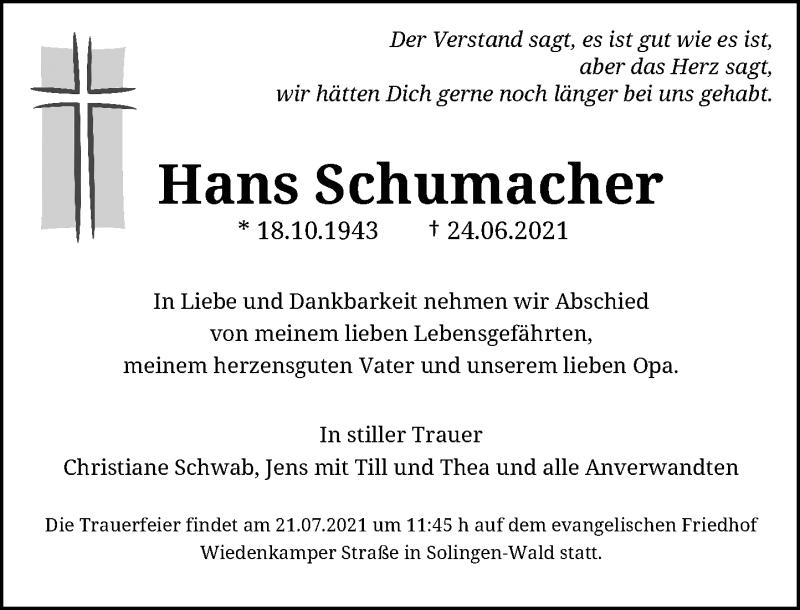 Traueranzeige für Hans Schumacher vom 10.07.2021 aus Rheinische Post