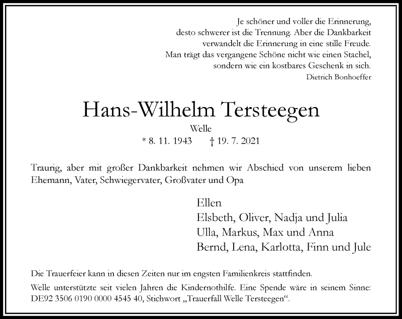 Traueranzeige für Hans-Wilhelm Tersteegen vom 21.07.2021 aus Rheinische Post