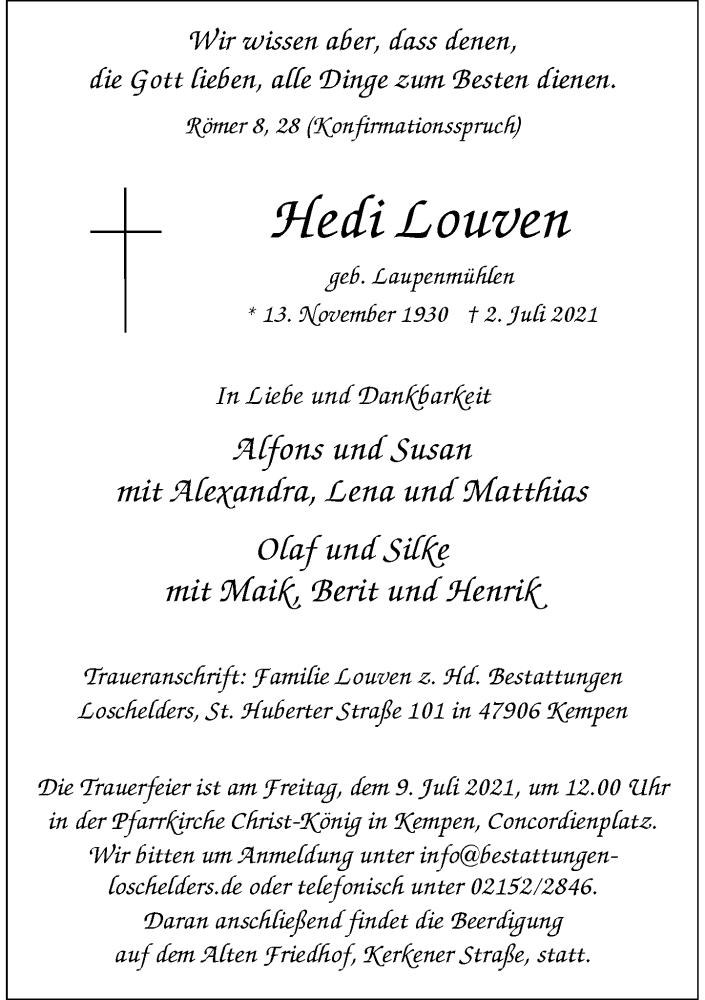 Traueranzeige für Hedi Louven vom 07.07.2021 aus Rheinische Post