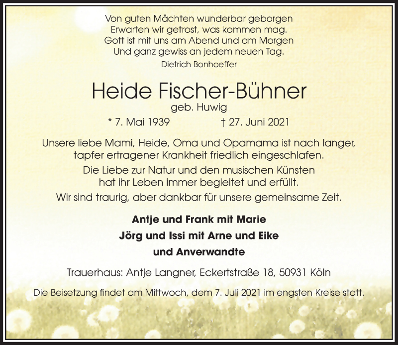 Traueranzeige für Heide Fischer-Bühner vom 03.07.2021 aus Rheinische Post