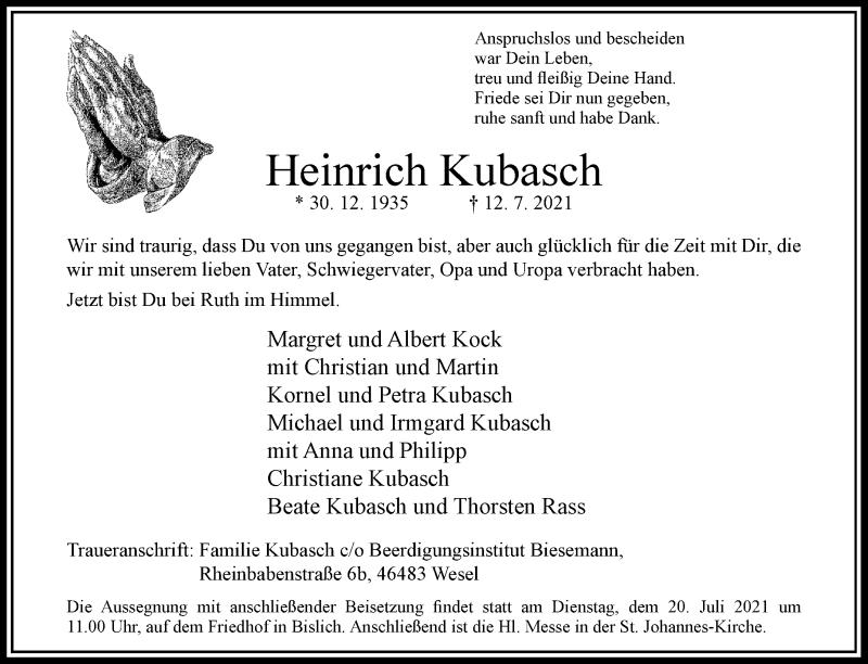 Traueranzeige für Heinrich Kubasch vom 14.07.2021 aus Rheinische Post