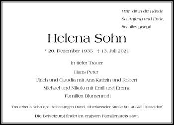 Traueranzeige von Helena Sohn von Rheinische Post