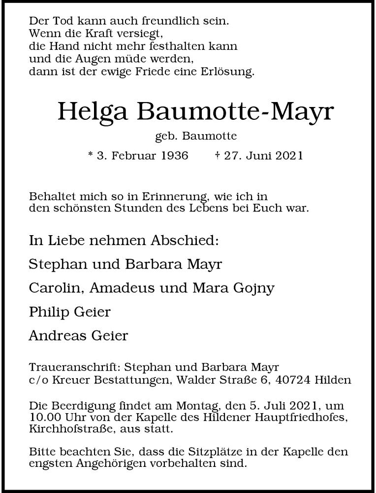 Traueranzeige für Helga Baumotte-Mayr vom 03.07.2021 aus Rheinische Post