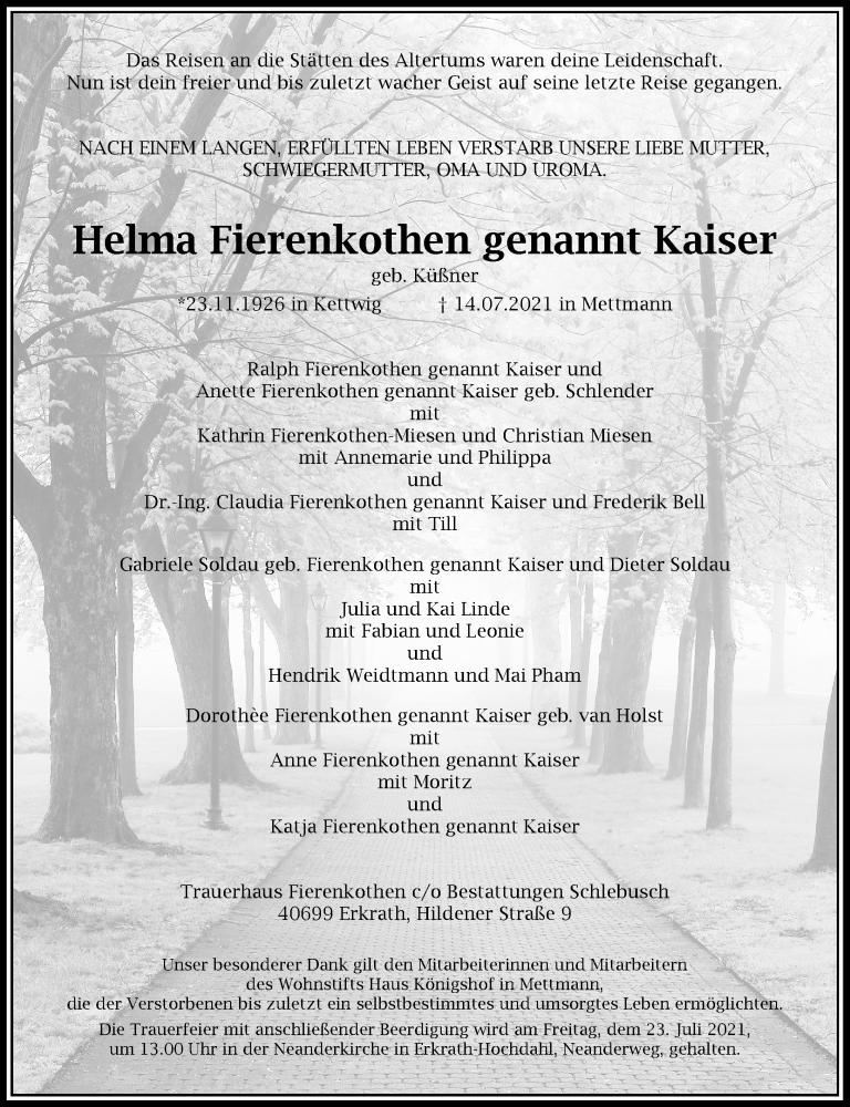 Traueranzeige für Helma Fierenkothen vom 17.07.2021 aus Rheinische Post