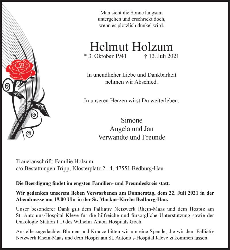 Traueranzeige für Helmut Holzum vom 17.07.2021 aus Rheinische Post