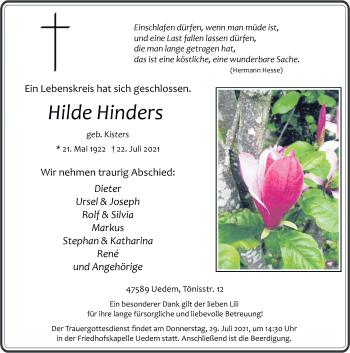 Traueranzeige von Hilde Hinders von Rheinische Post