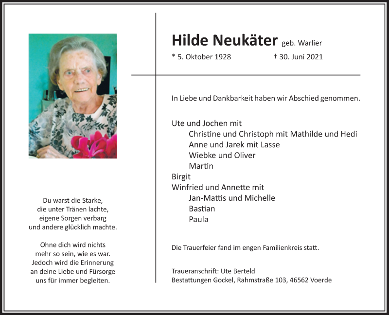 Traueranzeige für Hilde Neukäter vom 10.07.2021 aus Rheinische Post