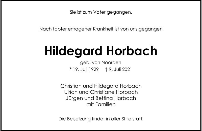 Traueranzeige für Hildegard Horbach vom 17.07.2021 aus Rheinische Post