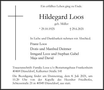 Traueranzeige von Hildegard Loos von Rheinische Post