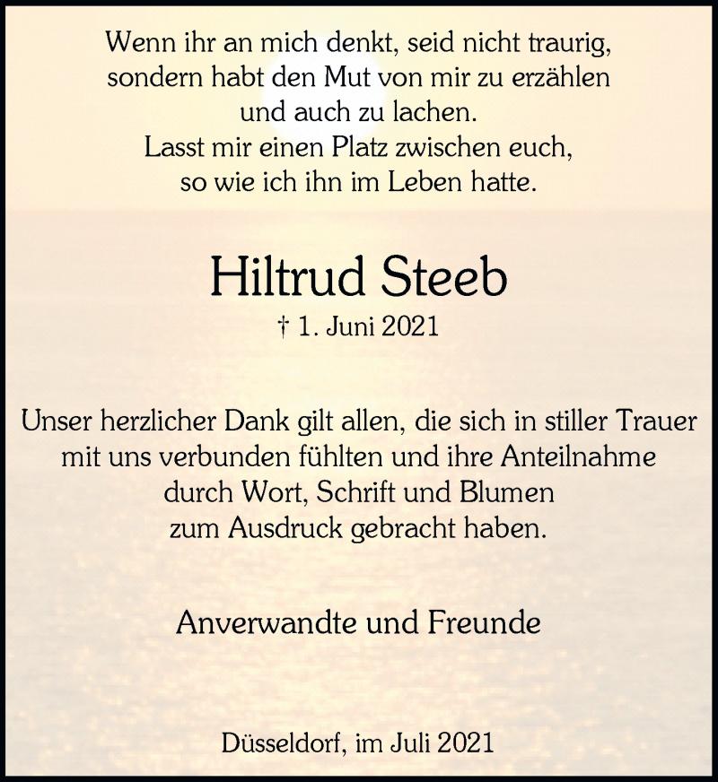 Traueranzeige für Hiltrud Steeb vom 03.07.2021 aus Rheinische Post