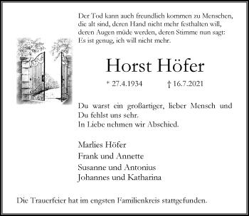 Traueranzeige von Horst Höfer von Rheinische Post