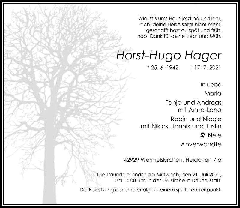Traueranzeige für Horst-Hugo Hager vom 20.07.2021 aus Rheinische Post