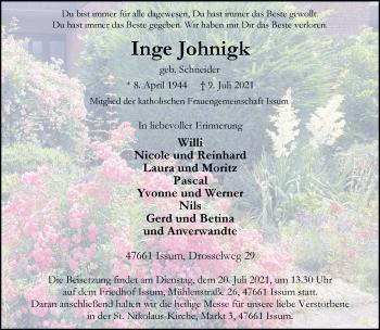 Traueranzeige von Inge Johnigk von Rheinische Post